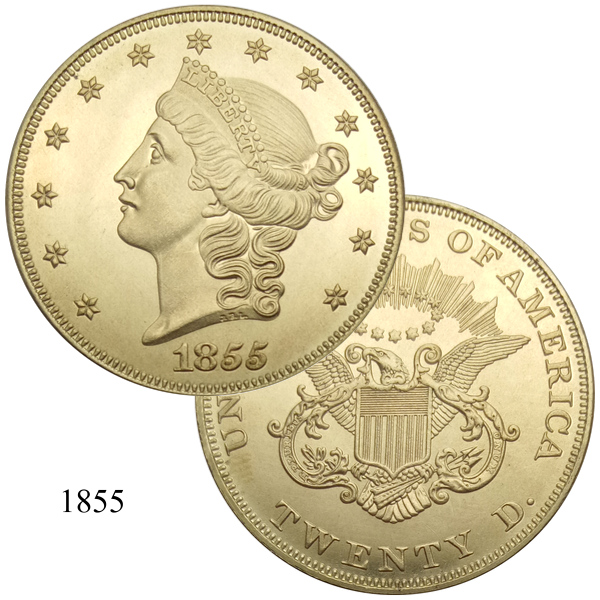 United States 20 Dollars Gold Coins 1858 1858 O 1858 S Liberty Head