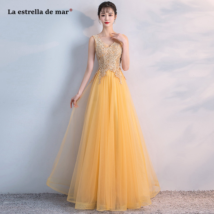 vestido madrinha new tulle sexy V neck diamonds decorated with gold Blush silver blue turquoise Burgundy   bridesmaid     dress   Long