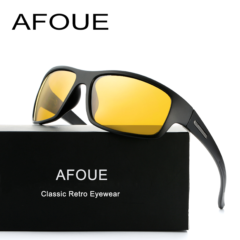 AFOUE Night Vision Sunglasses Men Brand Designer Fashion Polarized Driving Enhanced Light anti-glare Glasses HD Pilot Goggles