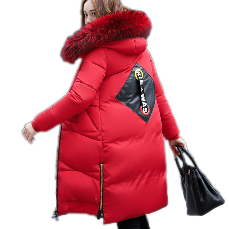 2017 winter women's coat new Korean red feather cotton clothing women long thick hair collar fashion Down jacket for women pregnant women coat autumn and winter cotton fashion long section slim was thin feather cotton clothing thickened cotton jacket