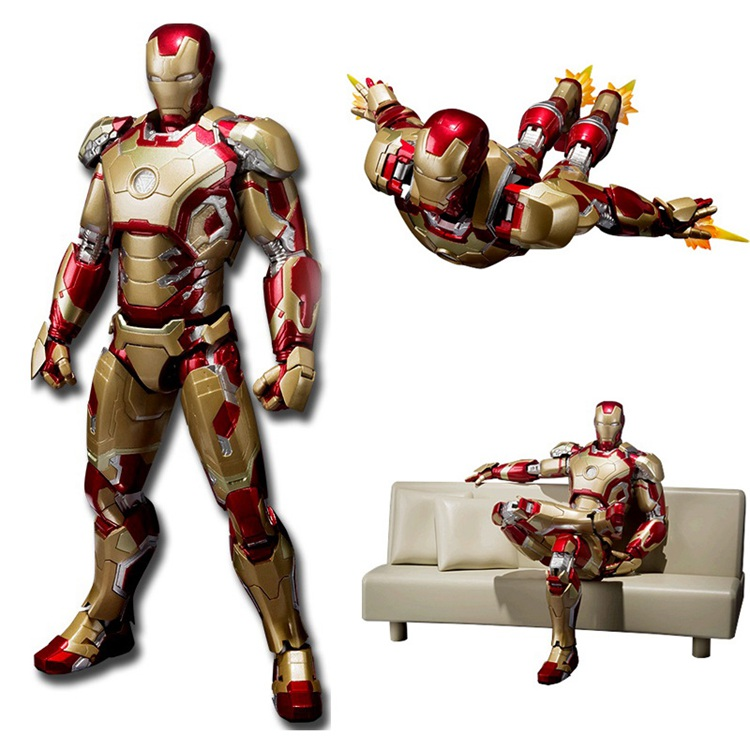 SHF Iron Man Mark 42 With Sofa  PVC Action Figure Collectible Models Toys 15cm KT2429