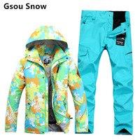 Зимние непромокаемые теплые мужские лыжные и сноубордические костюмы GSOU Лыжная куртка брюки мужские лыжные hombre Лыжная одежда