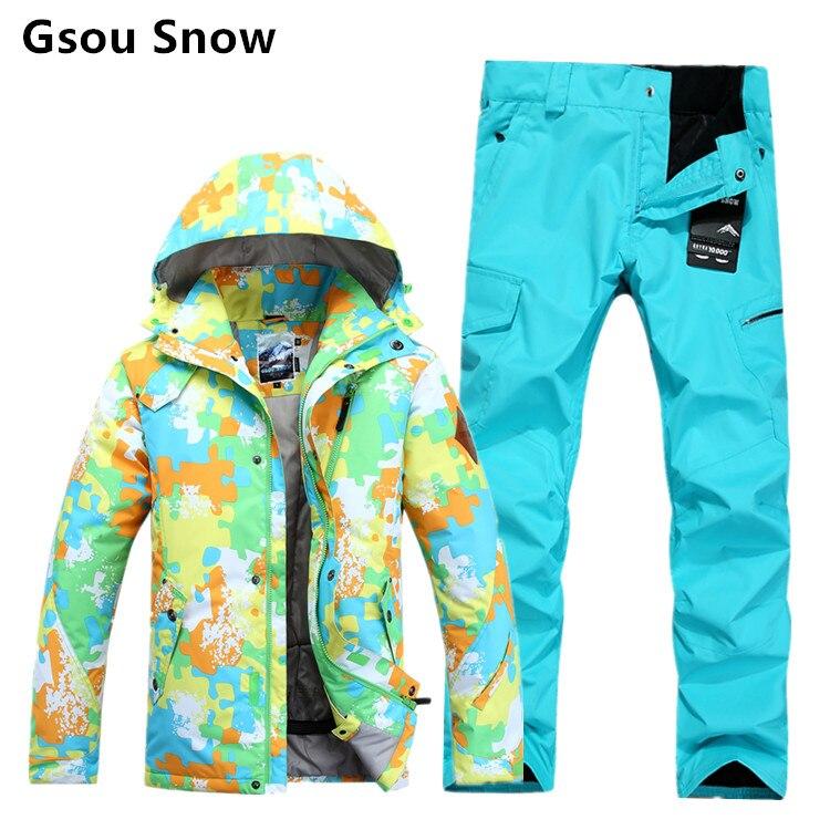 Hiver chaud et imperméable hommes de ski et snowboard costumes GSOU NEIGE veste de ski pantalon hommes ski hombre ski vêtements