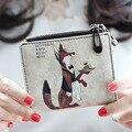 Nuevo 2017 Moda Marca de Calidad Original de la Cremallera Monederos Carpetas de Las Mujeres de Dibujos Animados Lindo Animal de la Impresión de la Muchacha Corta Pequeños de Las Mujeres Delgadas bolsas