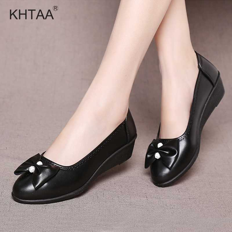 f7004758cb Wedges Bowknot Women Pumps Medium Heels Autumn Fashion Slip On Casual Shoes  For Female 2018 Shallow