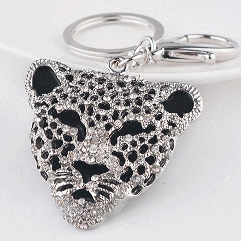Felyskep Cute Leopard Head Rhinestone Keyring Charm Pendant Purse Bag Key Ring Chain Keychain Gift  For Women Key Holder 355AZL