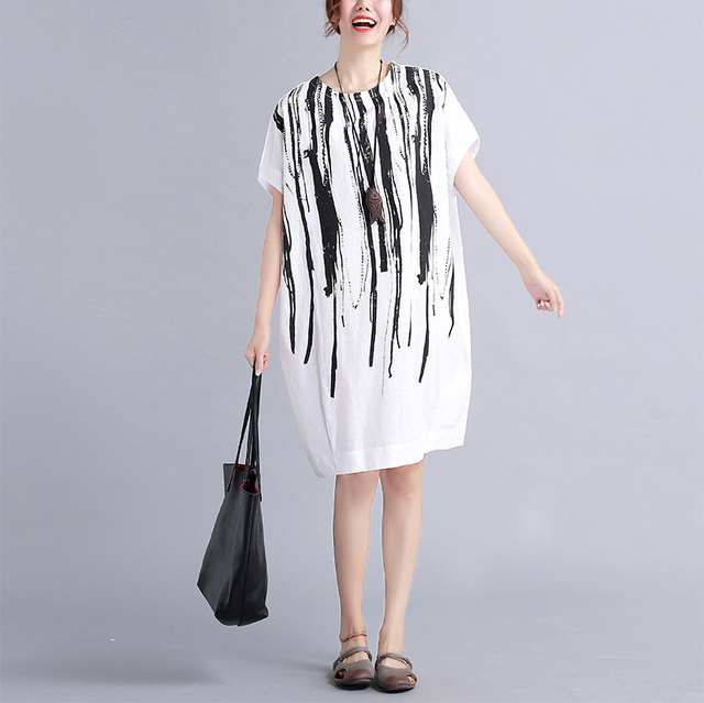 2016 Korean Style Summer Fashion Dresses O Neck Vertical Striped