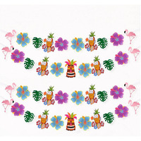 12 Pcs Pack 1 Strings Hawaiian Ribbon Banners Tropical Flowers Flamingo Summer Pool Birthday Party Decorations