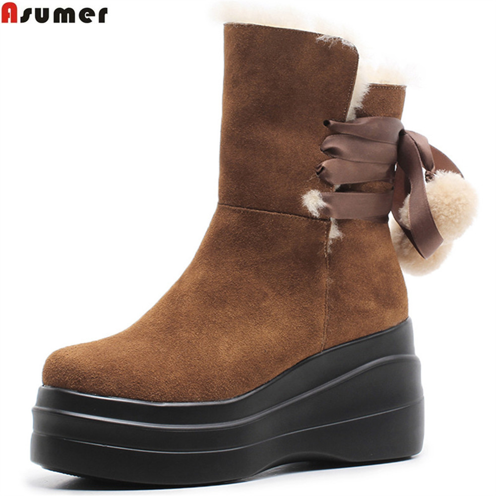 ASUMER black brown round toe fashion ladies shoes platform wedges boots wool winter keepwarm women suede leather ankle bootsASUMER black brown round toe fashion ladies shoes platform wedges boots wool winter keepwarm women suede leather ankle boots