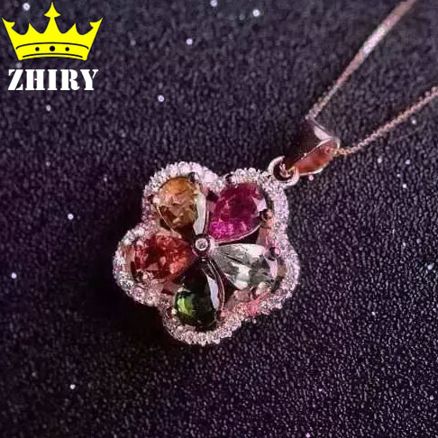 Natural Tourmaline Pendant Necklace Genuine 925 Sterling Silver Gem Precious Stone Fine Jewelry Color Noble Birthstone hyperset noble hs6012
