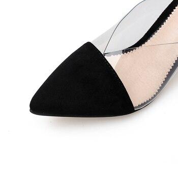 Schwarze Slingback Schuhe | New Concise Frauen Pumpen Sommer Sandalen Klare Maultiere Weibliche Dressing Schuhe Schwarz Transparent Frauen Hausschuhe Pumps Pumpen