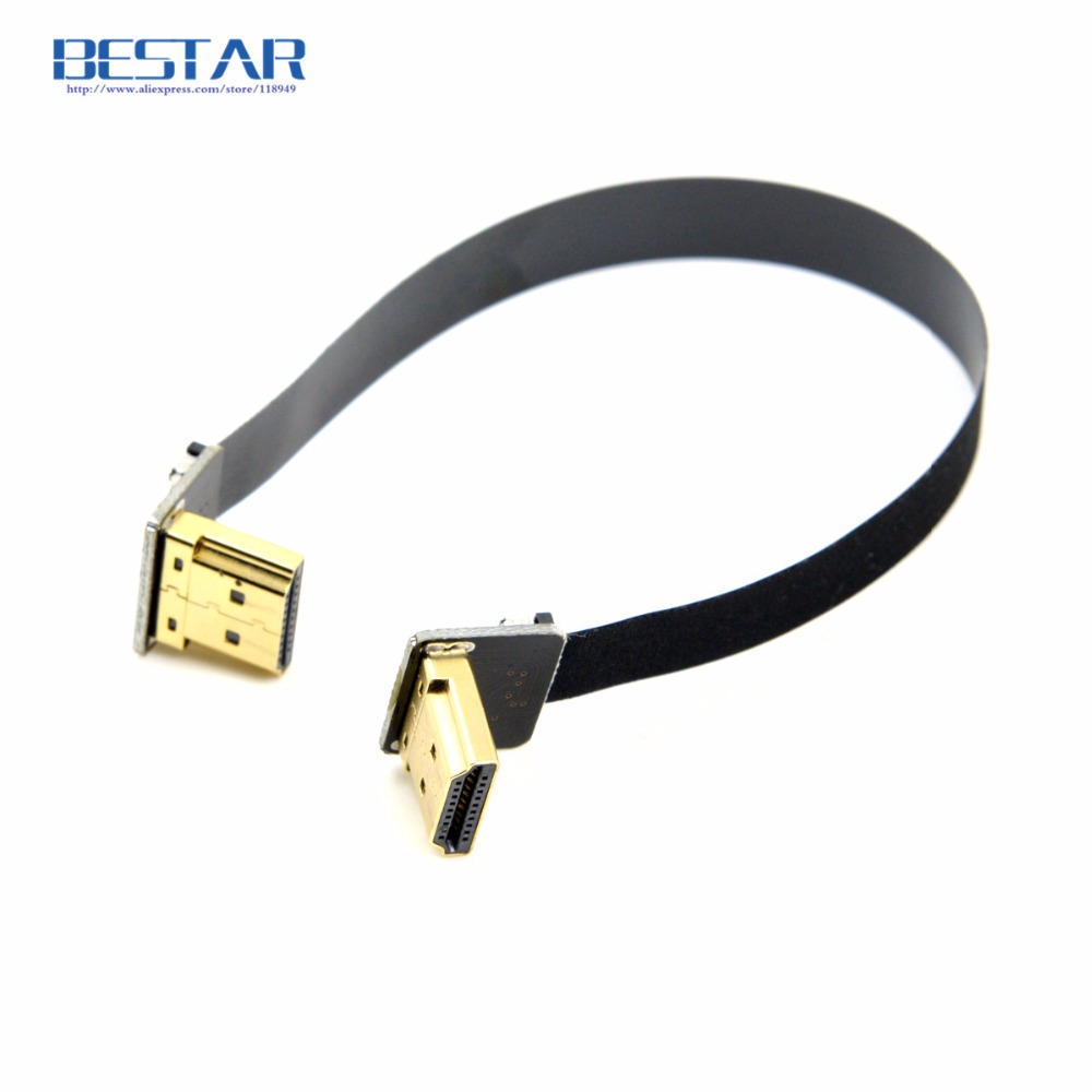 FPV Up Angled 90 Degree HDMI Type A Male to Male HDTV FPC Flat Cable 10cm 20cm 30cm 50cm 1m for Multicopter Aerial Photography cy dp 082 le 1080p left angled 90 degree mini displayport to hdmi cable for hdtv black 150cm