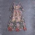 Впп Платья 2016 Великолепная Половина Рукава Sheer Сетки Вышивка Длинные Платья Богемный Стиль Бренда Vestidos Де Феста 61461