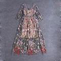 Vestidos de pista 2016 gorgeous medias mangas de malla transparente bordado vestidos largos de bohemia estilo de la marca vestidos de festa 61461
