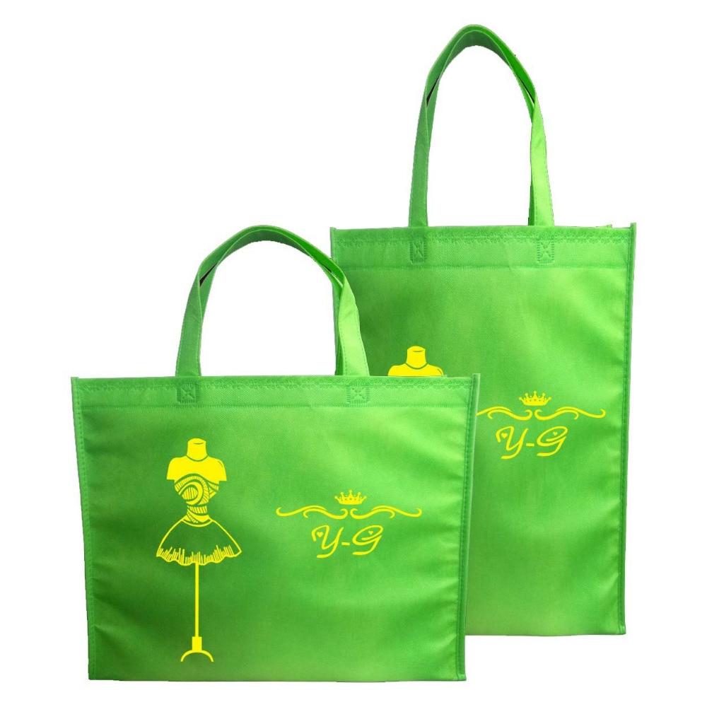 En gros 500 pcs/lot taille 35x45Hx10cm écologique PP Non tissé réutilisable sac à provisions épicerie sac avec Logo imprimé-in Shopping Sacs from Baggages et sacs    1