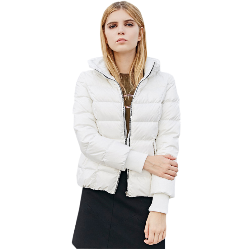2018 Autumn Winter Women   Down     Coats   90% White Duck   Down   Jackets Female Black White Casual Hooded Warm   Down   Outwears FP1605