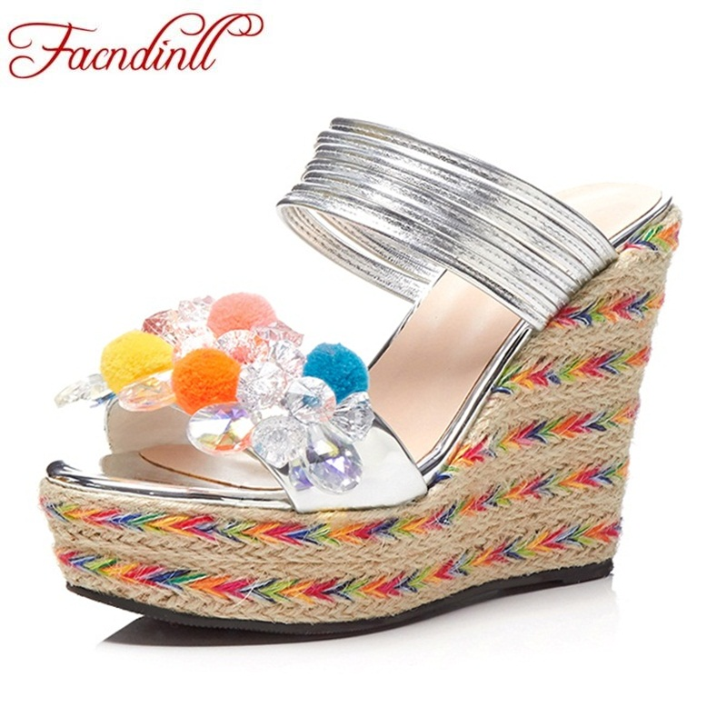 FACNDINLL women summer sandals shoes high qulaity wedges high heels platform shoes woman ladies sweet dress shoes casual sandals facndinll new women summer sandals 2018 ladies summer wedges high heel fashion casual leather sandals platform date party shoes