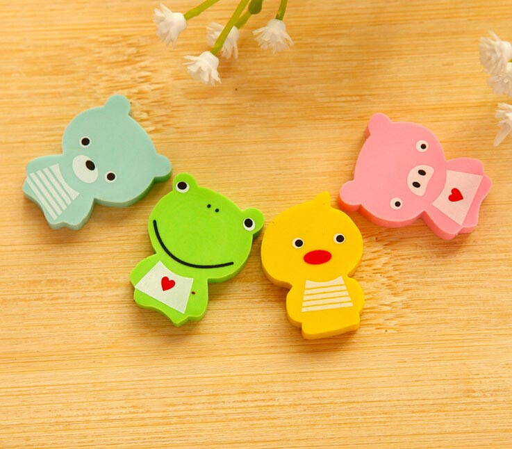 Free Ship!1lot=120pc! Cute Cartoon Series Animal Erasers/frog Bear Duck Pig Eraser / Student Prize / Kindergarten Gift Prizes