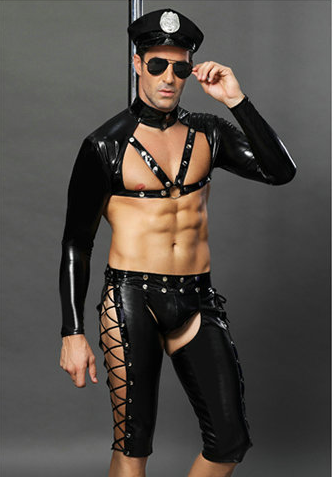 M-2XL 2018 Police <font><b>Men</b></font> Faux Leather <font><b>Sexy</b></font> <font><b>Cosplay</b></font> Costume America Policemen Long Sleeves Open Front Shirt Tops Short Pants Hat Set image