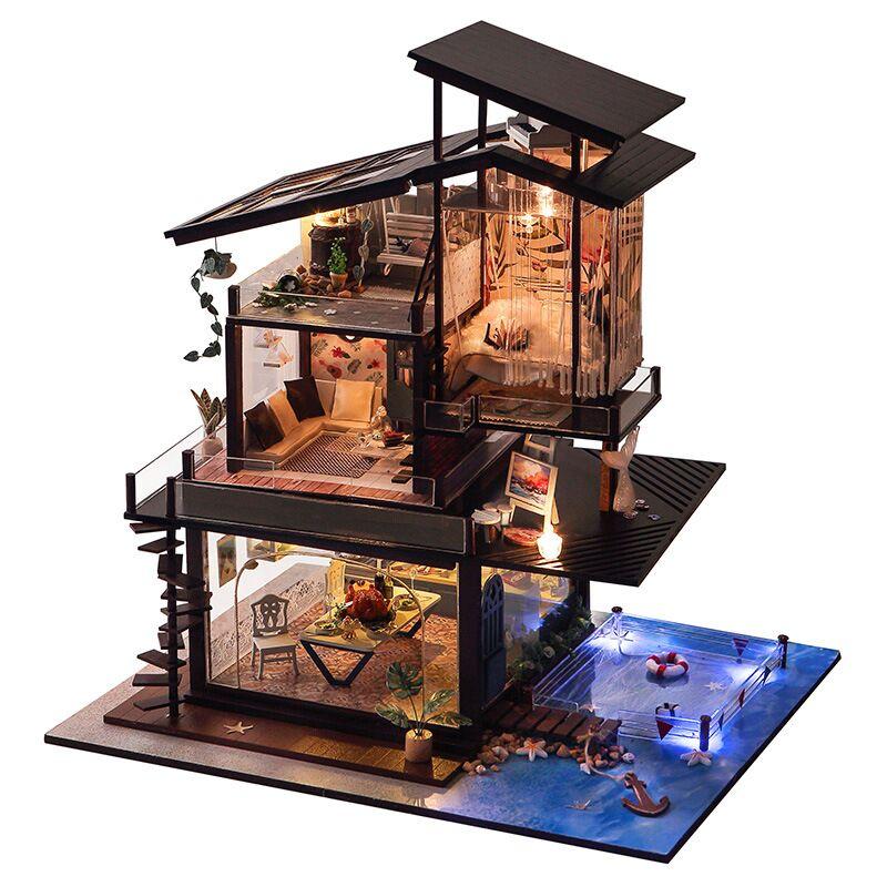 Kits miniatures de meubles de maison de poupée de Villa de côte bricolage maison de poupées en bois avec des lumières de LED et boîte à musique pour le cadeau d'anniversaire d'artisanat de main