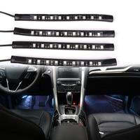 4pcs RGB LED Car Interior Lighting Kit Car Atmosphere Lights Decoration Lamp Remote Bluetooth Control Atmosphere