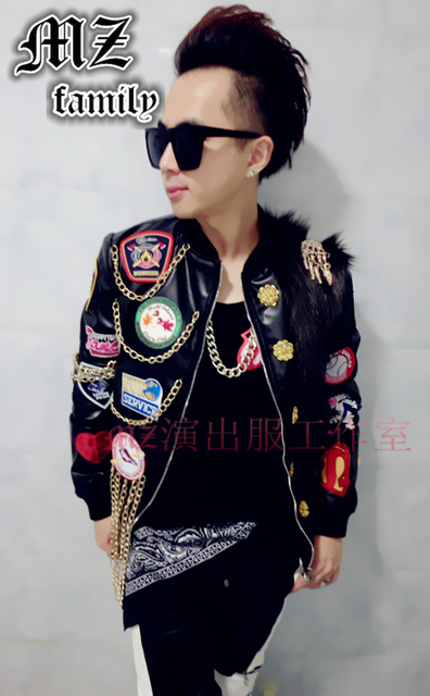2016 new style fashion black PU leather male dj singer Faux leather jacket grass chain decorative ds lead show stage show coat