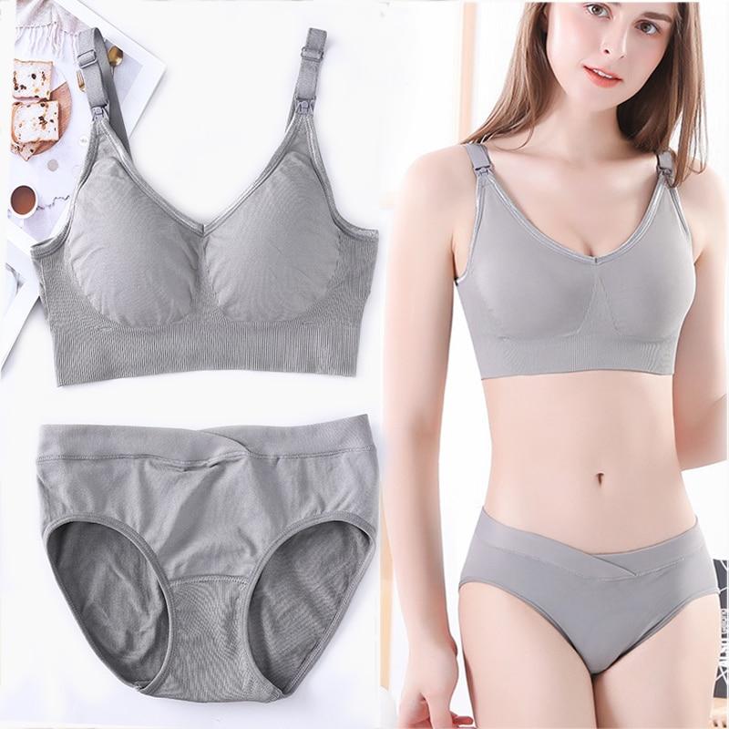 Women's Intimates Bra and Panty Set Lingerie Bra Brief Set Nursing Bra Breastfeeding Underwear Night Sleep Feeding Wirefree