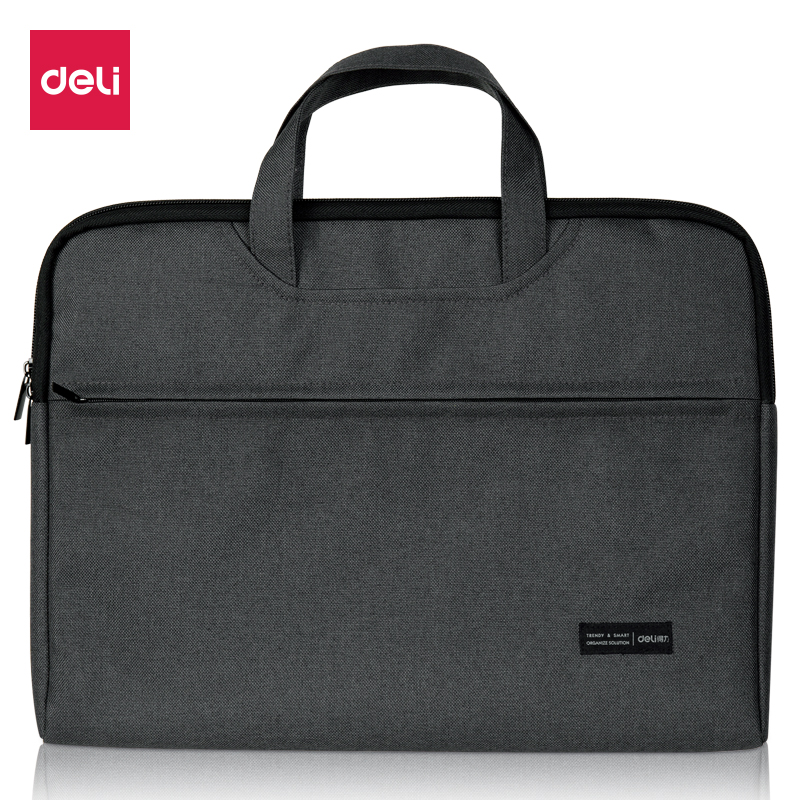 Deli Briefcase Portable File Bag Durable High Capacity Laptop Bag Double Layer Business Officially Work Bag Good Quality