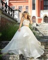 Lavish Champagne Beaded Spaghetti Strap Bridal Gowns 2019 Sexy Backless Tulle Wedding Dresses Vestidos De Festa Caftan