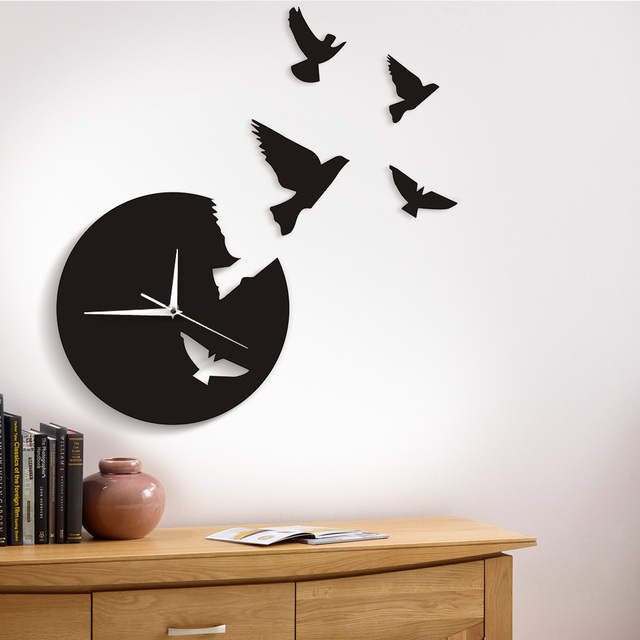 1Piece Flying Birds Wall Clock Flies Animal Wall Clock Modern Design ...