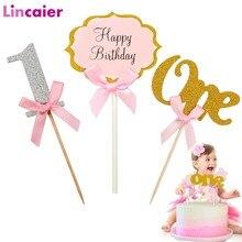 ראשון יום הולדת אחד Cupcake טופר 1st שנים ילד ילדה DIY מסיבת קישוטי 1 שנה ישן תינוק יום הולדת דקור ילדים