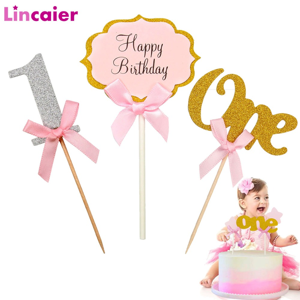 First Birthday One Cupcake Topper 1st Years Boy Girl DIY Party <font><b>Decorations</b></font> 1 Year Old Baby Birthday Decor Kids <font><b>Unicorn</b></font> image