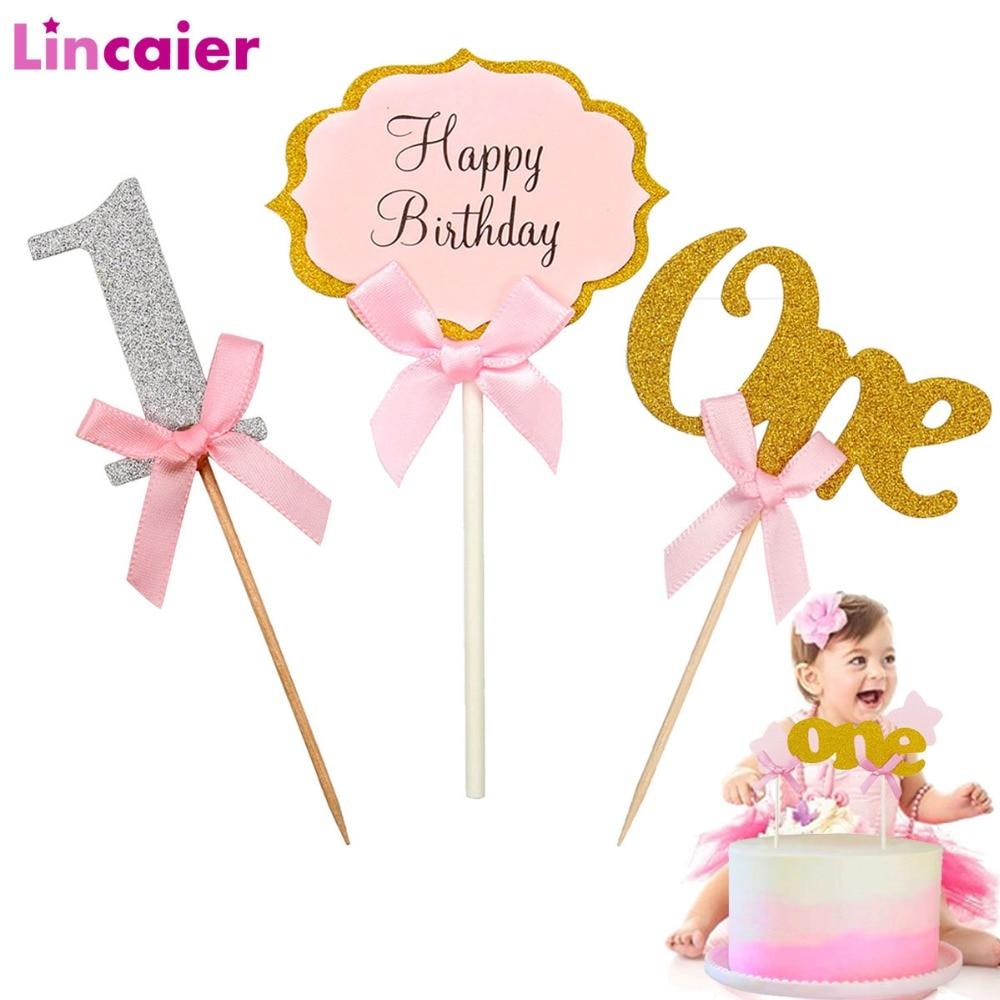 Primeiro aniversário um cupcake topper 1st anos menino menina diy decorações de festa 1 ano de idade do bebê decoração aniversário crianças