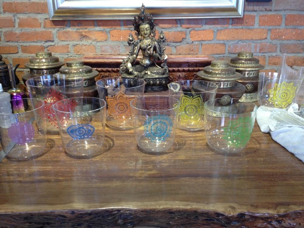 one set 7pcs 4th octave clear quartz crystal singing bowls ... Quartz Crystal Bowls