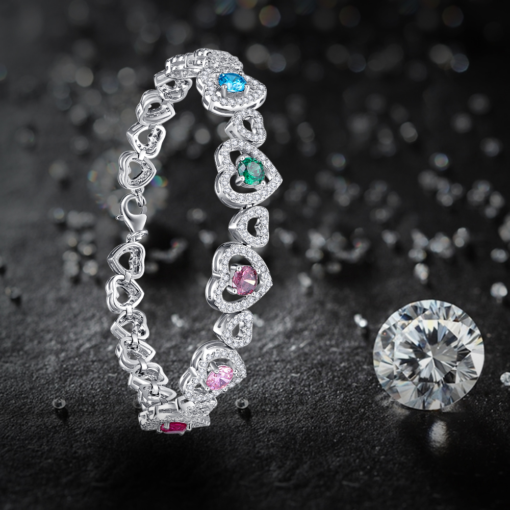 Jrose 18.3 CM coeur à coeur homard Design solide 925 en argent Sterling bracelets porte-bonheur broche réglage 5 couleur gemmes cadeau avec boîte - 5