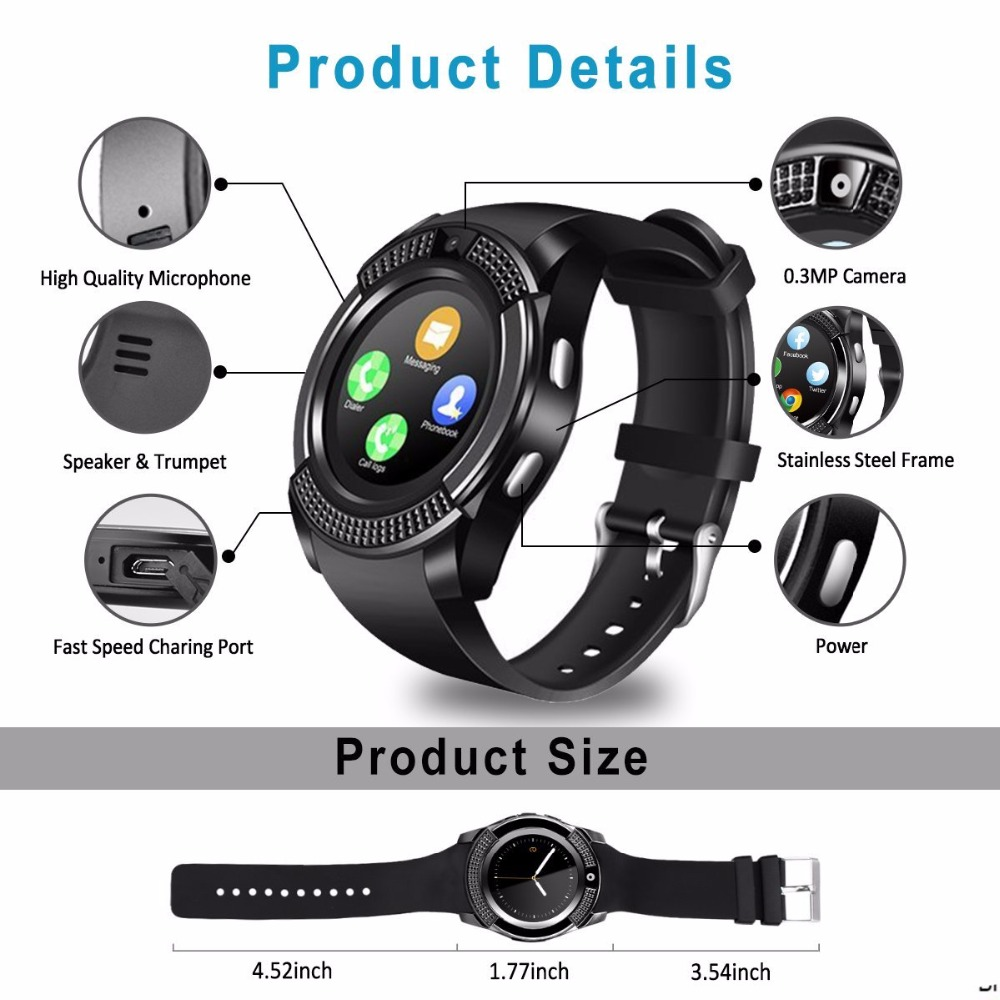 V8 Smartwatch Touch Screen, Camera & SIM Card Slot (Android