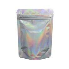 100pcs/lot Stand Up Glittery Zip Lock Bag Heat Seal Aluminum Foil Pacakge Bag Snack Beans Mylar Zipper Packing Pouches 8.5x13cm цена