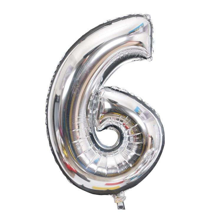 Золотой Серебряный 32 дюйма 0-9 большой гелиевый цифровой воздушный шар фольги Детский праздник день рождения вечеринка для детей мультфильм шляпа игрушки - Цвет: sliver 6