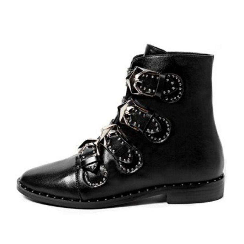 Mujer 34 Calzado Mujeres Vintage Negro Cuero De Hebilla 39 Real Las Tamaño Botas Metal Taoffen Zapatos gwxqRR