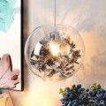 Прозрачный стеклянный шар  лампа в скандинавском стиле  Минималистичная  персонализированная  Оловянная фольга  цветок  ресторан  вход  дек...