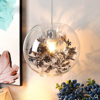 Transparent glass ball penadnt lamp Nordic minimalist personalized tin foil flower restaurant entrance decorative lighting lamp