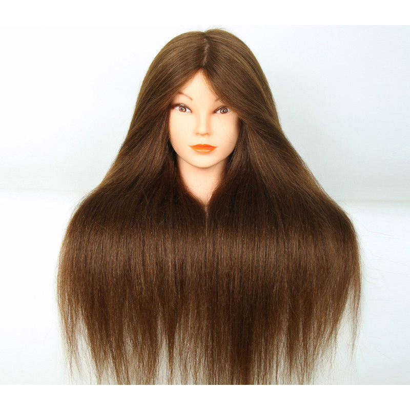 100% Human Hair Mannequin Head Professional 22Inch Hair Hairdressing Doll Heads Hairstyles Cosmetology Training Model