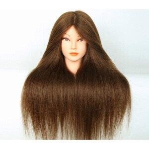 Mannequin tête avec des cheveux humains 100% professionnel 22 pouces cheveux coiffure poupée têtes coiffures cosmétologie formation modèle