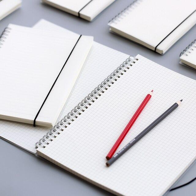 A4 A5 B6 spirale livre bobine cahier ligne point blanc grille papier Journal carnet de croquis pour fournitures scolaires papeterie magasin G0021