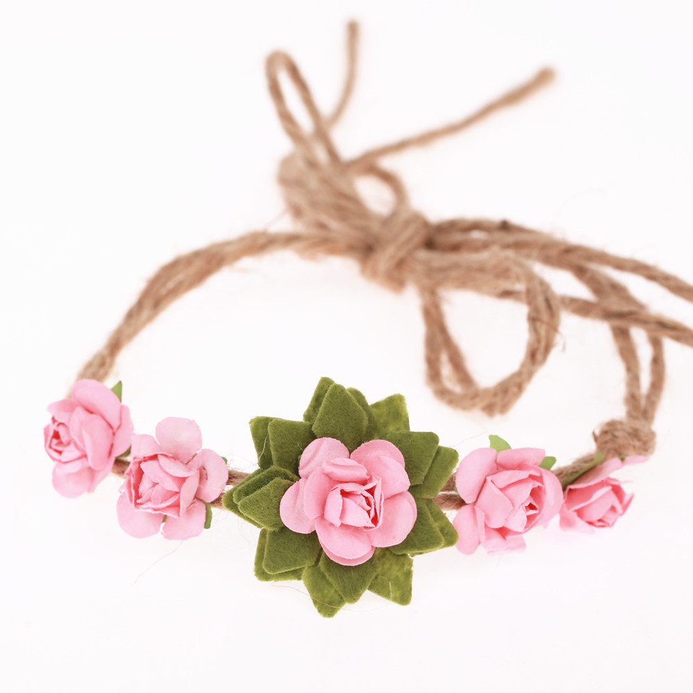 20 pcs/lot , Small Rose Flower Hemp Tie Back Headband, Children Girls Halo Headband Photo Props small rose tie