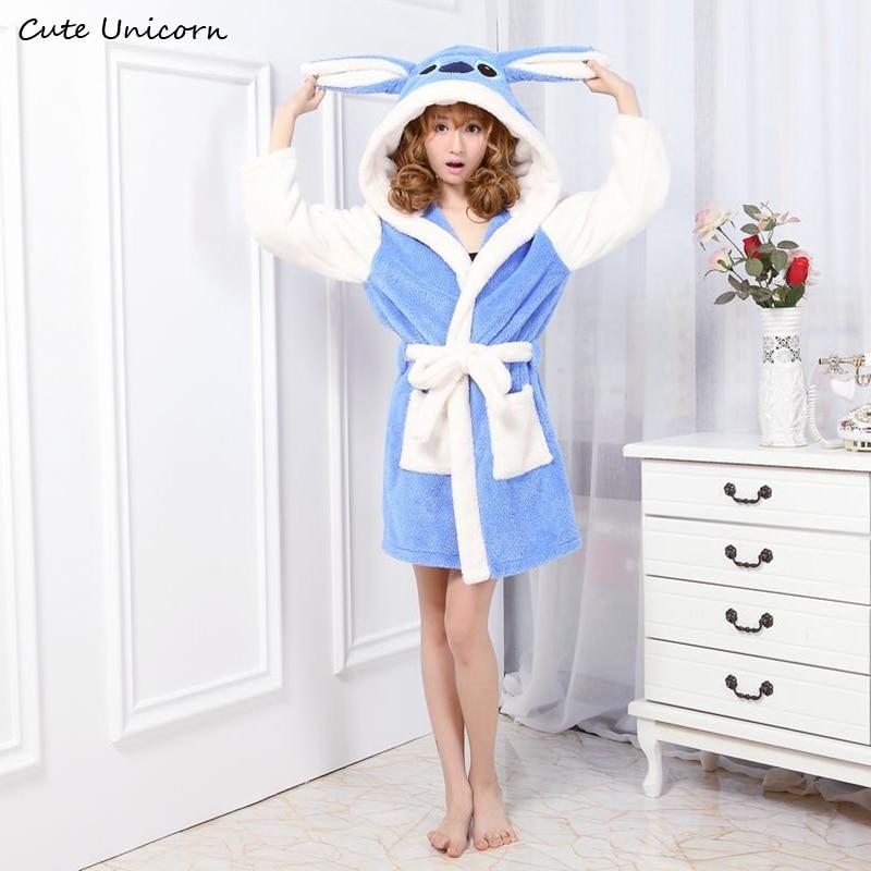 Unisex Blue Stitch Nightgown Cartoon Robes Women Gown Long Sexy Robe Animal Sleep Robe Femme Homewear Bathrobe