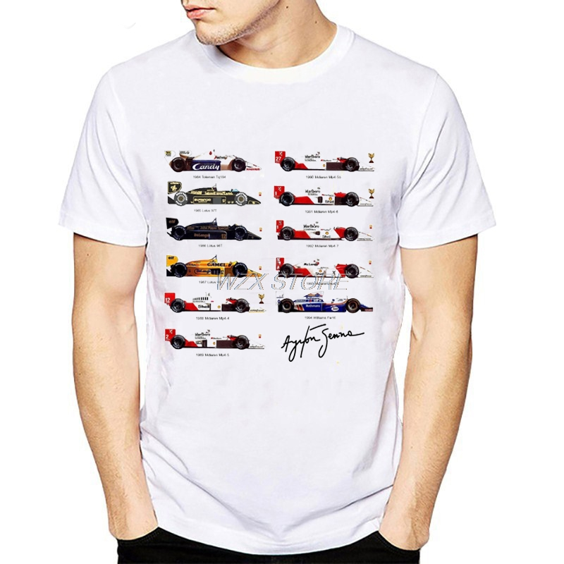 New Fashion Ayrton Senna Cars Fans T Shirt Men Racing Car Print Tshirts Summer Short Sleeve Shirts Tops Catholicism Tees T-Shirt
