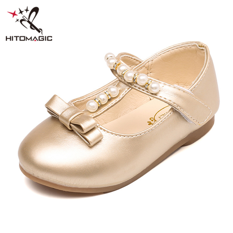 HITOMAGIC Baby Girl Shoes Princess 2018 Girls Leather Shoes Kids Summer Footwear Children Spring Cute Gold Bow For Party Soft