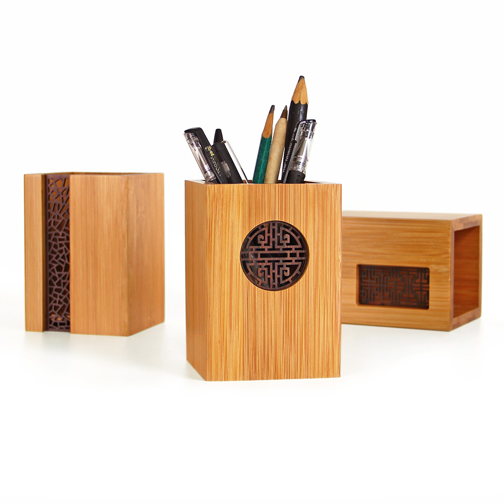 Creative Bamboo Pen Tube Vintage Hollow Out Carve Home Office Storage Genuine Stationery Pen Container Box