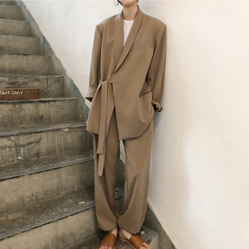 Vintage Notched Collar Lace Up Women Pant Suit Fashion Khaki Female Suits 2 Pieces Set Loose Blazer Jacket & Straight Pant 2019